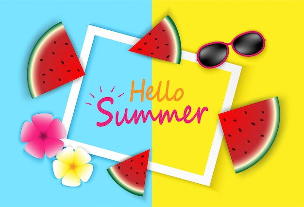 Hello summer. top view on sun glasses , flower and watermelon on colorful pastels