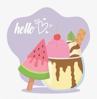 Привет летние путешествия и отдых мороженое арбуз в sitck векторные иллюстрации