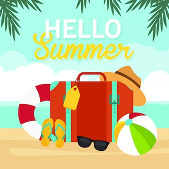 Hello summer, travel bag on beach illustration, travel time, vector