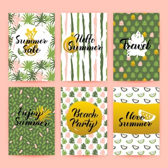 Hello summer trendy brochures. vector illustration of 80s style poster design with handwritten lettering.