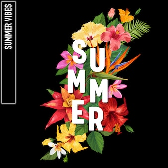 Hello summer tropic design flowers background
