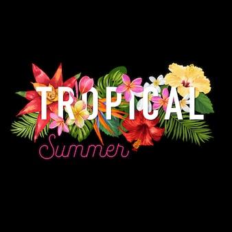 こんにちは夏のトロピカルデザイン花バナー