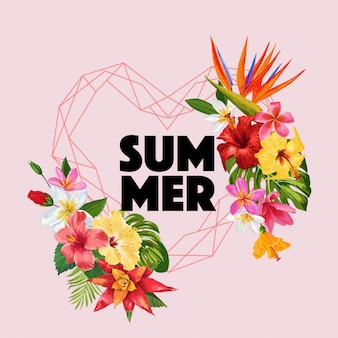 Hello summer tropic design flowers