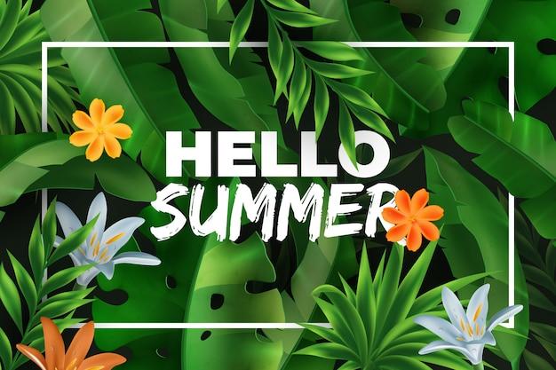 こんにちは夏の熱帯の背景