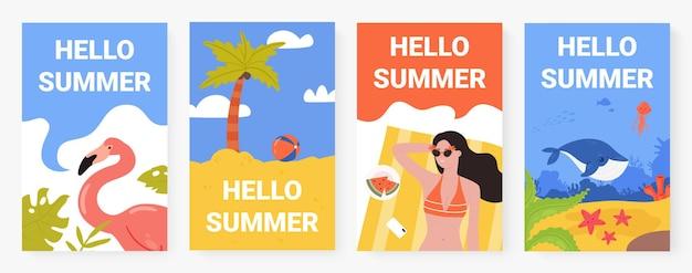 Hello summer tropical beach vacation concept with palm tree flamingo bikini girl set