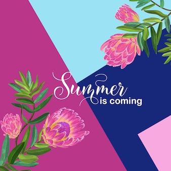 Здравствуйте, летний тропический дизайн. цветочный старинный фон с розовыми цветами протеи для принтов, плакатов, футболки, флаера. векторная иллюстрация