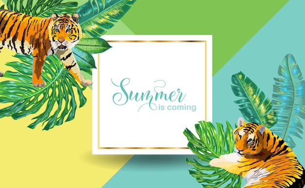 Hello summer tropical design with palm leaves and tigers. tropic beach vacation poster, banner, t-shirt, flyer, cover. vector illustration
