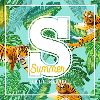 Hello summer tropical design with palm leaves and tigers
