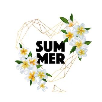 안녕하세요 여름 열 대 꽃 카드 프리미엄 벡터