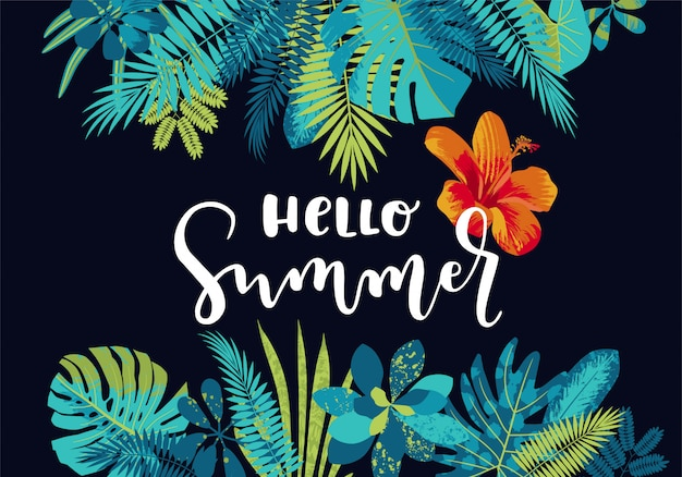 Hello summer tropical leaves calligraphy summer design with monstera