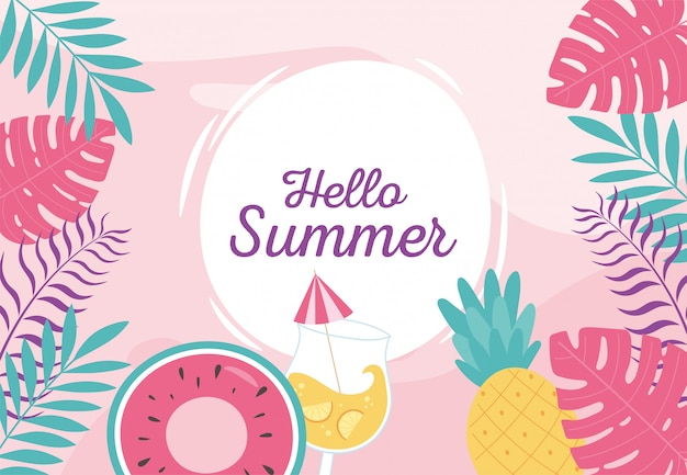 Hello summer, tropical leaves foliage float cocktail pineapple badge  illustration