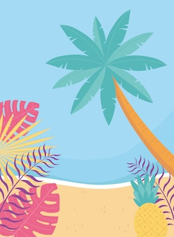 Hello summer, tropical leaves foliage palm tree sea beach  illustration