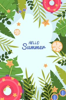 Hello summer and tropical leaves on ocean blue background.