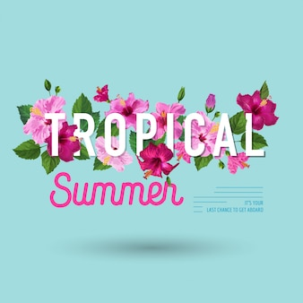Hello summer tropical poster. floral design with purple hibiscus flowers for t-shirt