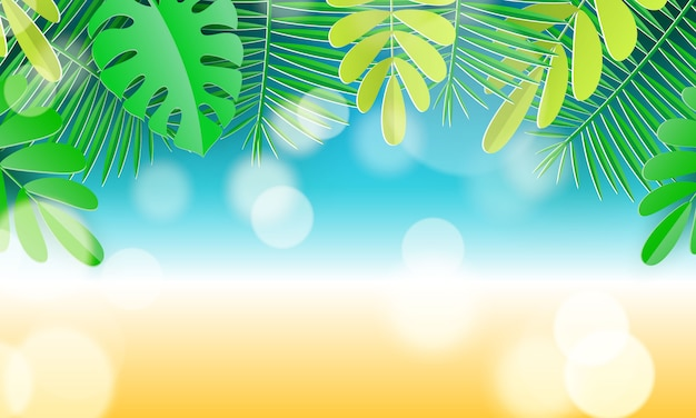 Hello summer typographic design with abstract forms of paper cutting and tropical leaves. vector illustration.