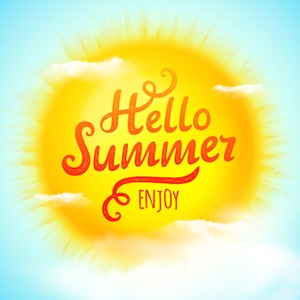 Hello summer, typographic inscription on sun with clouds.  illustration