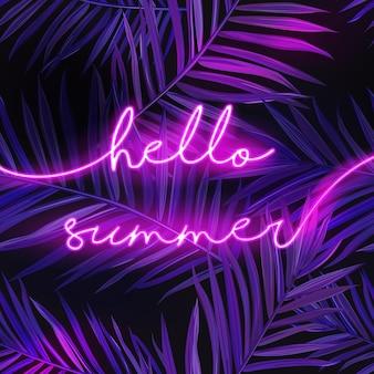 Здравствуйте, летний баннер с пальмовыми листьями. летняя неоновая вывеска фон. тропический иллюминированный плакат с экзотическими растениями для рекламы. векторная иллюстрация