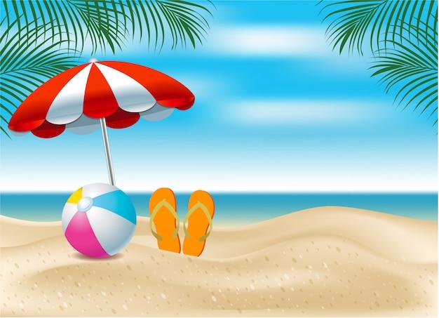 こんにちは夏。海を背景に夏のビーチにある傘とボール。夏のお祝いのバナーデザインの創造的な概念。リアルなデザインスタイル。設計