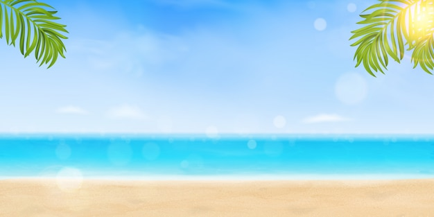 こんにちは夏休みのコンセプトです。ビーチ、光沢のある海、明るい太陽の下で海の水、熱帯のヤシの葉でシーショアリゾートビュー。夏休み休暇、旅行。