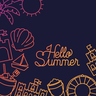 Hello summer and vacation silhouette design