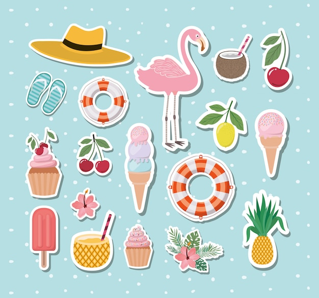 Hello summer and vacation stickers design