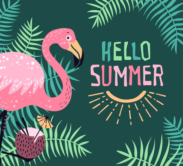Hello summer. vector cute flamingo with a tropical cocktail