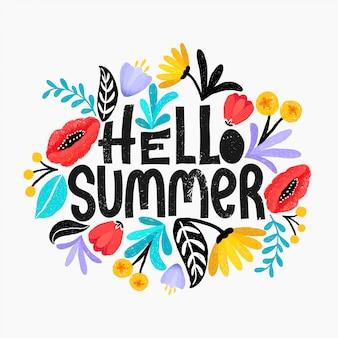 Hello summer vector illustration. floral digital sketch style design. cute bright flowers.