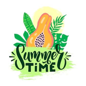 글자와 안녕하세요 여름 벡터 포스터입니다. 여름 그래픽 배경 및 텍스트 서예를 환영합니다. 벡터 일러스트 레이 션 파파야 과일, 야자수 흰색 배경에 고립 된 그런 지 브러시 스트로크에 나뭇잎.