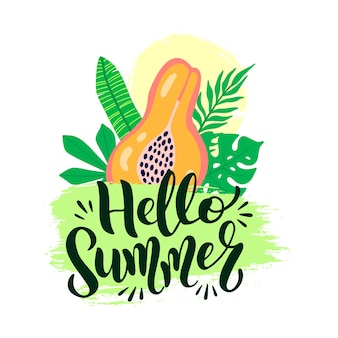 Hello summer vector poster with lettering. welcome summer graphic background and text calligraphy. vector illustration papaya fruit, palm leaves on grunge brush stroke isolated on white background.