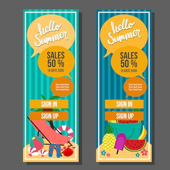 Hello summer vertical banner template vintage travel and swim vector illustration