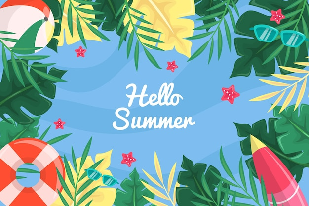 Hello summer water and leaves background