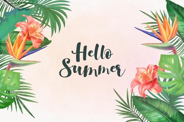 안녕하세요 여름 수채화 배경