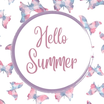 Hello summer. watercolor banner with butterflies