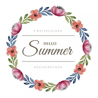 こんにちは夏の水彩画の花の花輪のデザイン