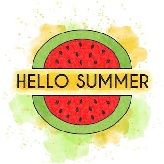 Hello summer. watercolor poster