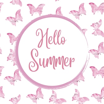Hello summer. watercolor rounded frame with butterflies