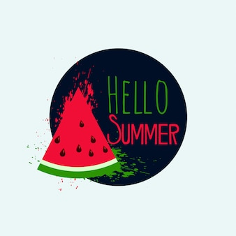 Hello summer watermelon background design