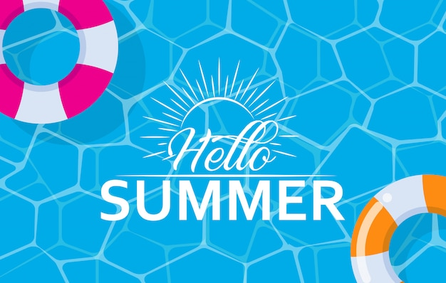 Hello summer web banner with swim ring on pool