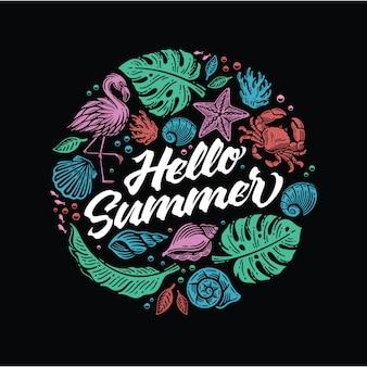 Привет лето с элементом пляжа в стиле каракули в форме круга.