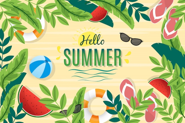 Привет лето с пляжем и листьями