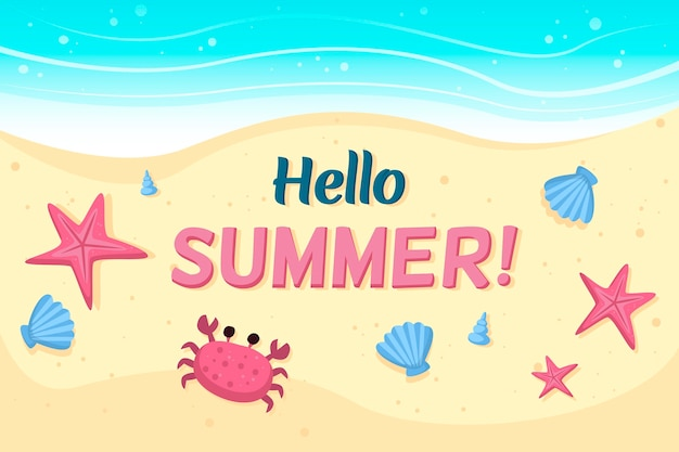 Hello summer with beach and crab
