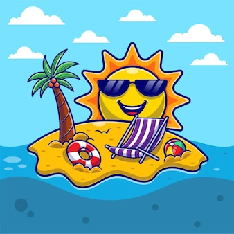 Hello summer with beach and cute sun