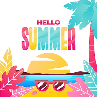 Hello summer with beach illustration