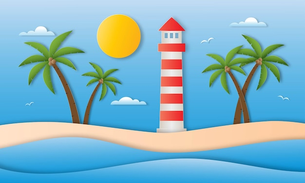 Hello summer with beach landscape background paper art style