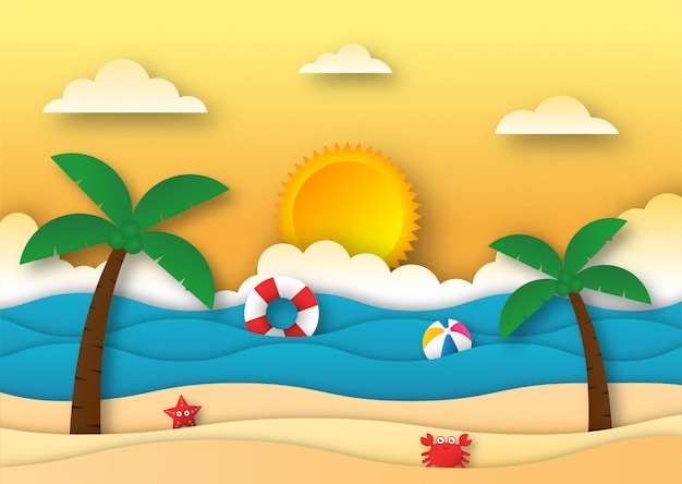 Hello summer with beach landscape background. paper art style.