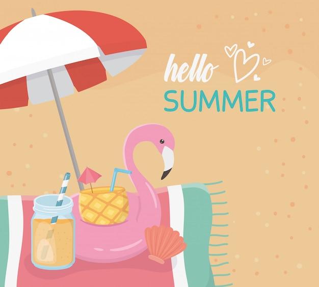 안녕하세요 여름 해변 장면과 플랑드르 플로트