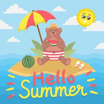 Hello summer with bear on island eating watermelon