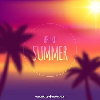 Hello summer with blurred background
