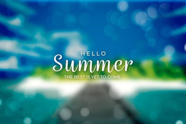 Hello summer with blurred island