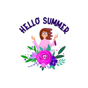 Hello summer with character and floral decorations, flat style.
